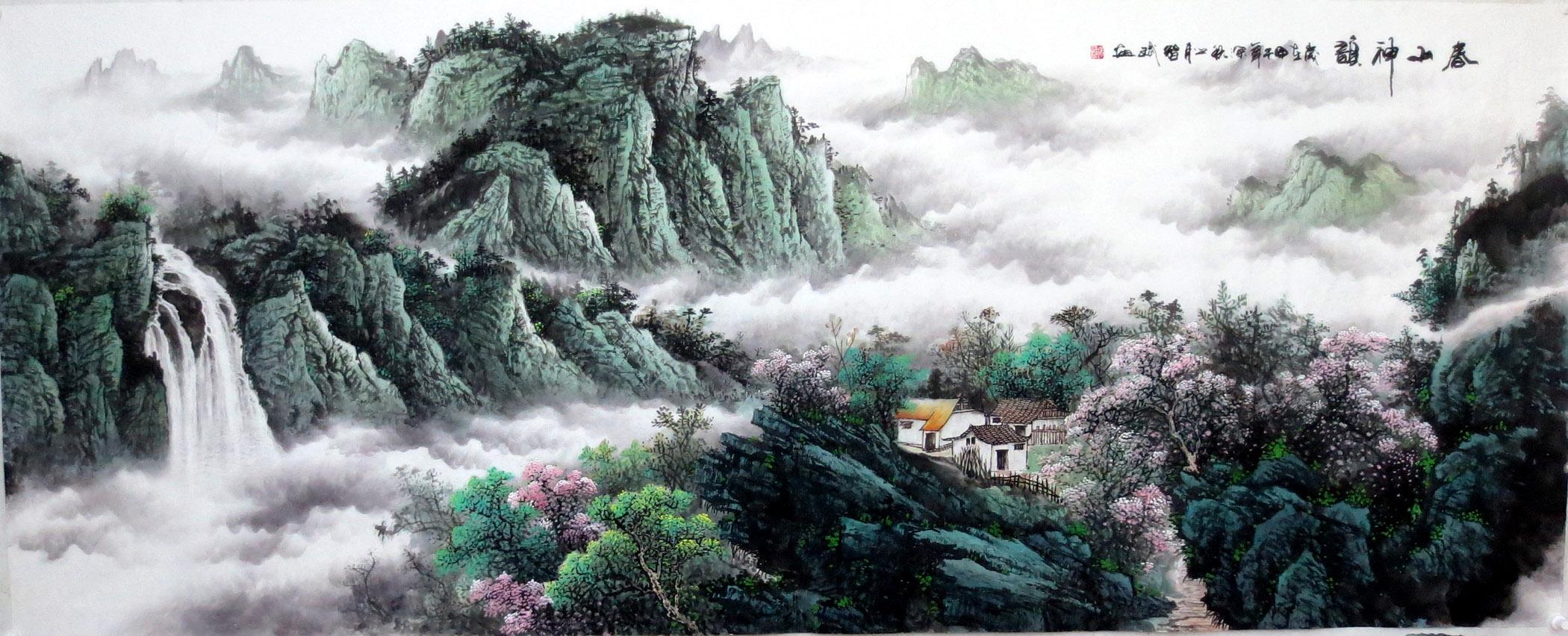纯手绘客厅风水墨国画字画智斌小八尺山水画真迹靠山2014-12-9-8图片