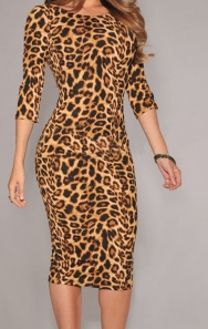 Leopard Print Low V Back Midi Dress 连衣裙
