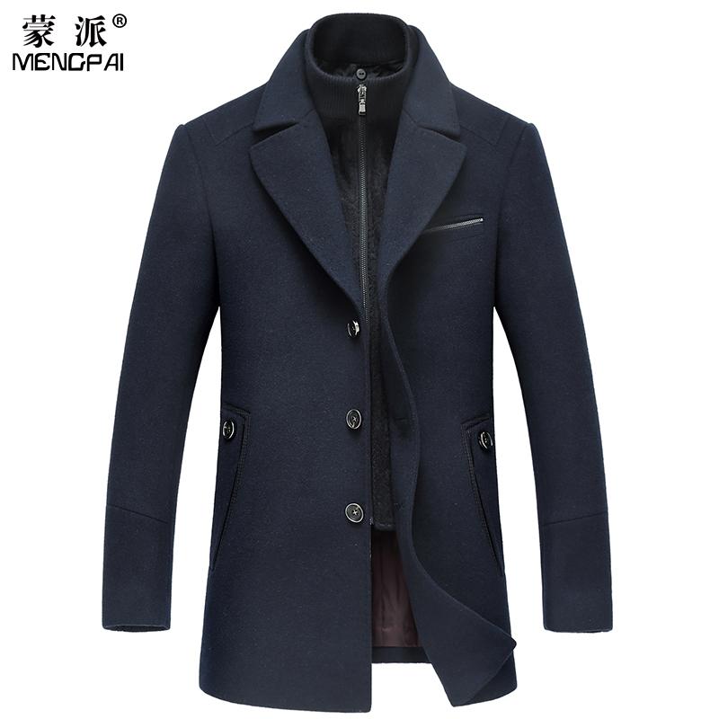 蒙派男装毛呢大衣商务休闲男士中长款羊毛加厚翻领呢子风衣外套