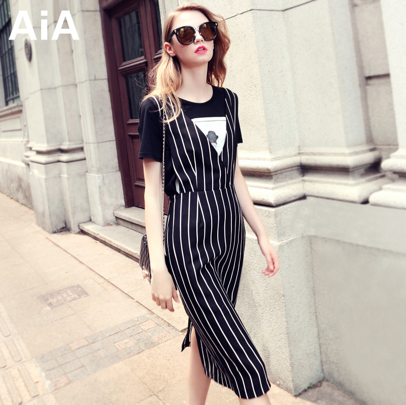 Black and white stripe dress AIA European spring of 2015 the new package hip shoulder-straps summer tide restoring ancient ways of cultivate one's morality