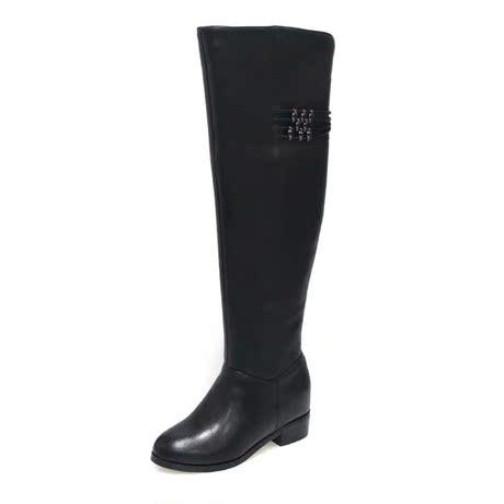 意尔康14冬季正品真皮过膝女靴时尚粗跟女鞋S762CF422476-10黑商品大图