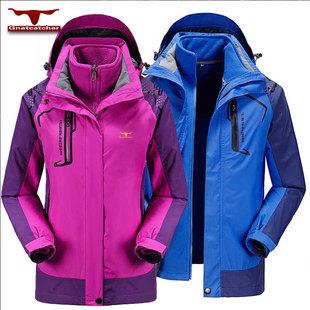 西藏户外冲锋衣男女两件套春秋季三合一韩版耐磨情侣潮冬季登山服