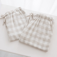 In August, he Ms Japanese muji wind of pyjamas Cotton checked man lives in pants Lovers pajamas gauze
