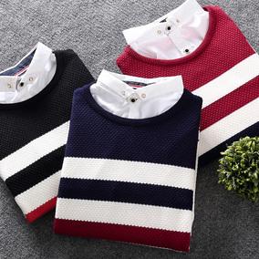 秋冬男士毛衣 青年韩版线衣修身加绒加厚套头假两件针织衫小衫潮