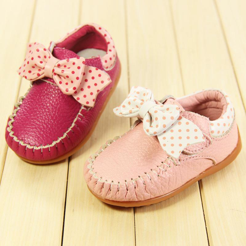 婴儿鞋子软底女童学步鞋宝宝秋鞋公主单鞋0-1岁波点真皮透气包邮
