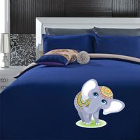 韩式简约纯色磨毛四件套男女床上用品1.8床单床笠式萌小象三件套