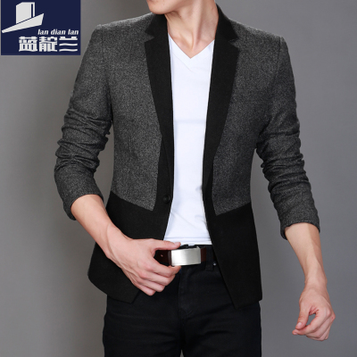 Indigo blue stitching 2014 new winter woolen suit male Korean Slim leisure suit jacket male tide then west