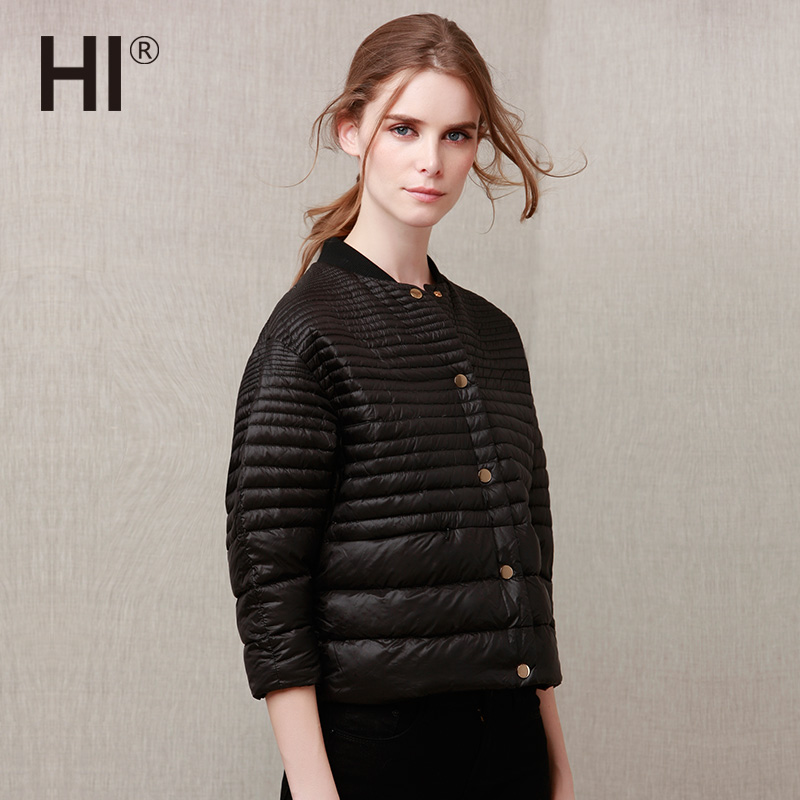 HI秋冬装新款韩版宽松七分袖轻薄短款羽绒服立领纯色显瘦棉服外套