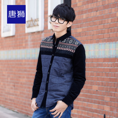 Tang Lion Men's 2014 winter new warm knit shirt retro wave thickening shirt