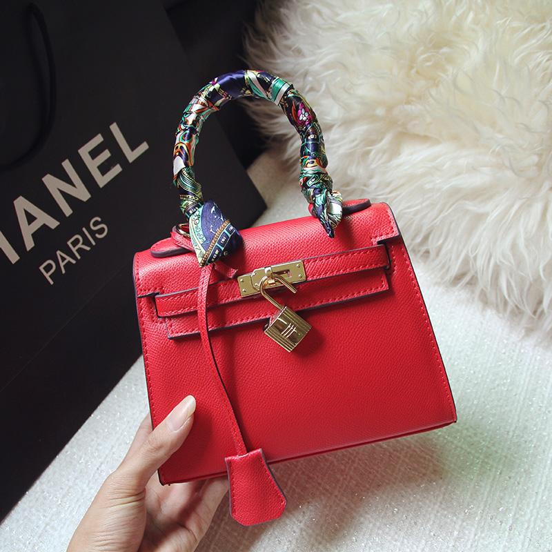 Leather palm print mini mini shoulder bag diagonal packet platinum locks  Kelly bag leather female bag - Taobao Depot f43a9e276c7db
