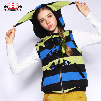 Shea fruit winter 2014 new hit color stripes vest horn button jacket zipper cardigan vest female