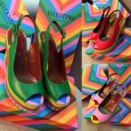 2015 spring and summer fashion rainbow high-heeled sandals fish head slope with color stripes leather sandals
