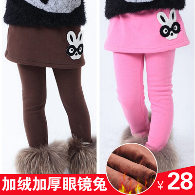 2014 girls leggings children bottoming Cotton Flax plus thick velvet skirts package hip girls leggings fake two