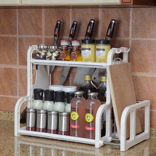 厨房置物架调味盒调料瓶收纳架落地储物架砧板双层架整理架送挂钩