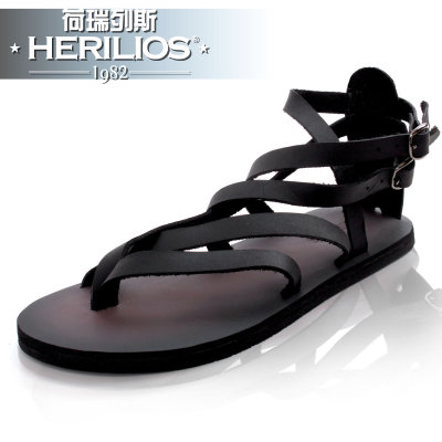 HERILIOS couples real cowhide fashionable men's thong sandals fashion ICONS in England Roman sandals