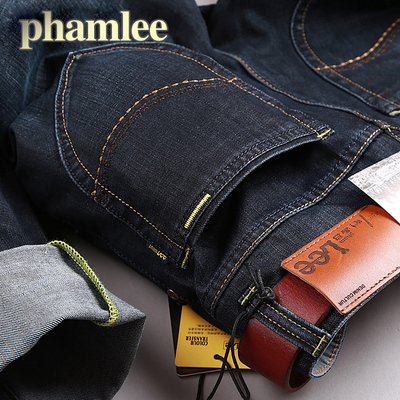 pham lee men's jeans trousers, long black pants Cotton Flax Slim straight jeans business casual