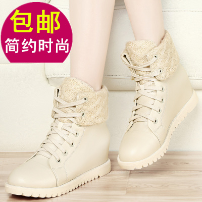 Ancient increased Nech� Tianlun Korean autumn and winter high-top shoes casual shoes lace round flat shoes stealth