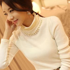 冬季女士百搭修身纯棉保暖内搭上衣加绒加厚针织高领打底衫女长袖