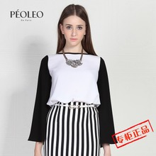 Peoleo floating grey spring 2015 women's clothing separates printing conventional female T-shirt 4120901247 new cultivate one's morality