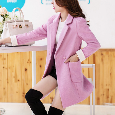 New winter 2014 women's wool coat Girls long paragraph Korean Slim temperament elegant thick coat