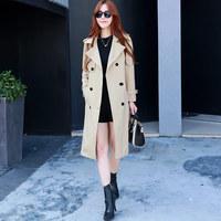 2016秋季中长款修身外套长袖新款常规韩版通勤女装大码百搭风衣