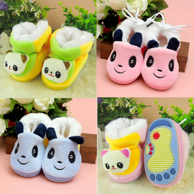 Toddler shoes soft bottom autumn and winter plus thick velvet baby shoes men slip newborn baby cotton-padded shoes moon shoes