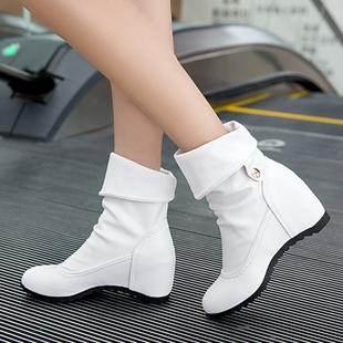内增高短靴女春秋单靴坡跟学生圆头秋季2019女鞋中筒靴冬马丁靴