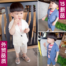Children with baby clothes 0-1-2-3-4 years old baby boy's summer wear suits short-sleeved cotton small suit of England