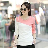 2015秋冬新款女装韩版潮流圆领紧身拼接加绒加厚棉长袖T恤打底衫
