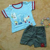 2015夏季新款热销夏装 婴儿宝宝T恤 卡通休闲短袖+短裤套装5011