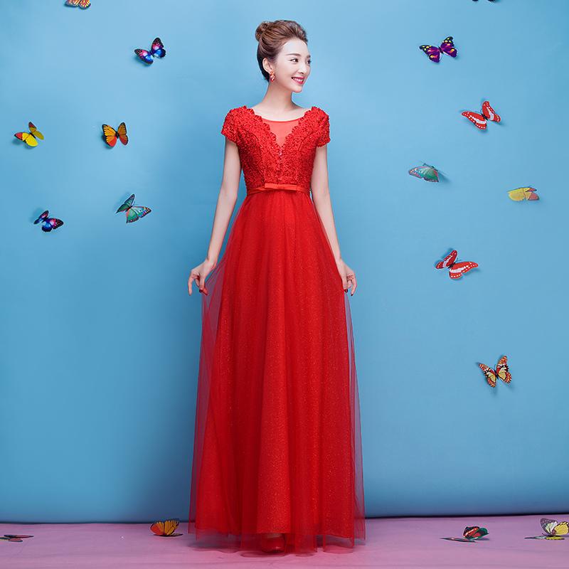 华衣印象2015新款新娘结婚回门敬酒服蕾丝钉珠时尚长款红色晚礼服