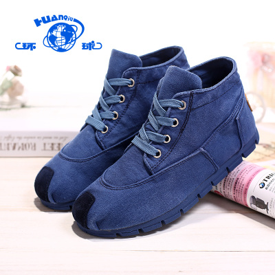 Global high-top canvas shoes female models female models fall flat shoes breathable soft board Korean students shoes tide