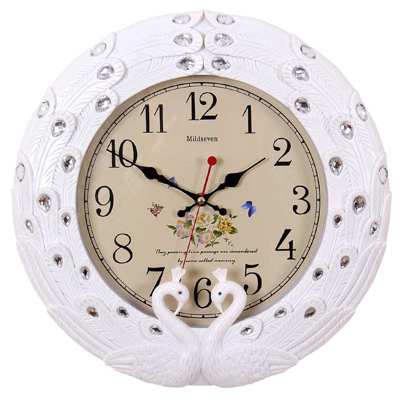 七王星14英寸欧式挂钟卧室客厅孔雀挂钟田园钟表石英石钟静音钟表