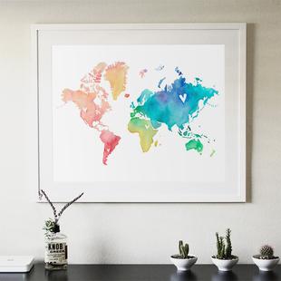世界地图装饰画