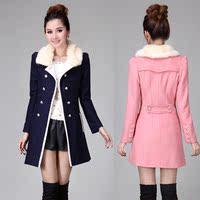 韩版女装冬天双排扣毛呢外套中长款妮子韩范修身显瘦呢子大衣毛领