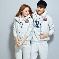 2016入冬保暖韩版新款男女卫衣三件套加绒加厚运动服全棉情侣装运