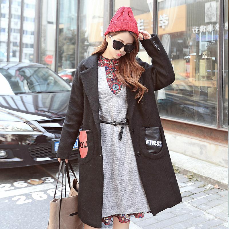 舒雪儿秋冬韩版休闲中长款大口袋修身毛呢外套女学生翻领呢子大衣