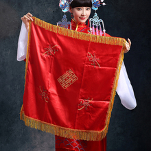 Rental red Chinese wedding bride epicranium xi palmer embroidery fabric covering of marriage Bright red curtain