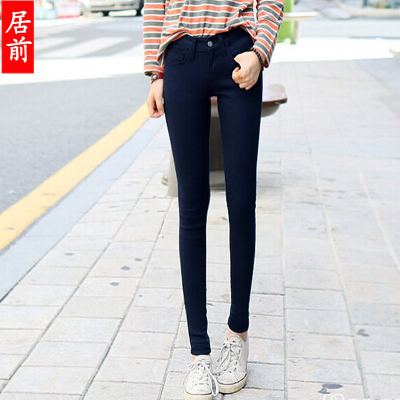 2015 winter fashion women jeans long pants warm thick slim