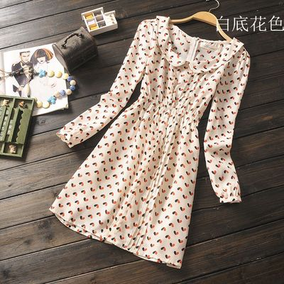 In the fall of the new foreign trade women's organ plait printing elastic waist sweet love dolls long-sleeved chiffon dress