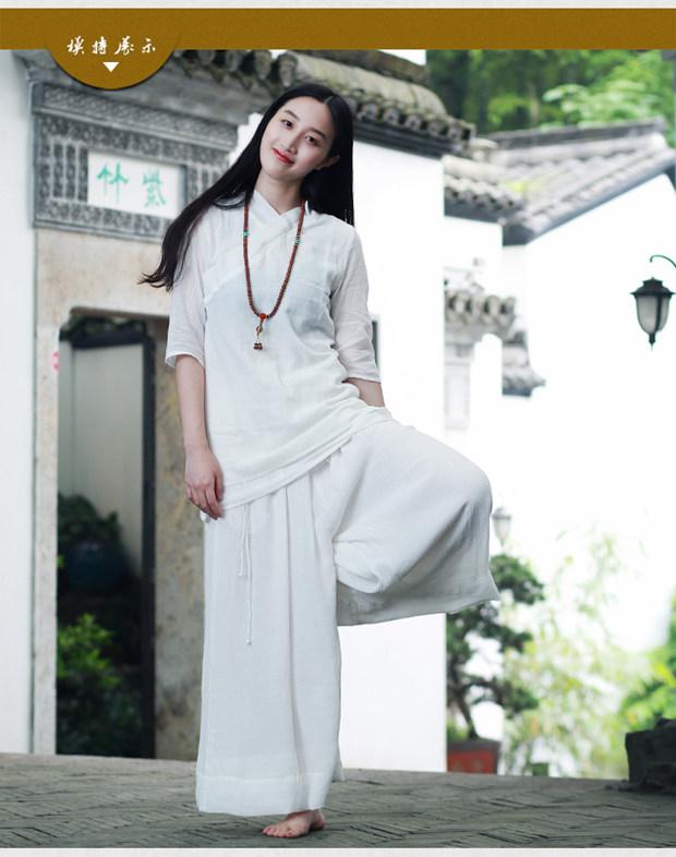 仙女范瑜伽服套装太极居士道服禅服女士茶人服茶道香道古琴服套装