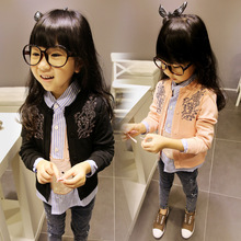2015 in the spring and autumn Han edition girls Pure color round collar single-breasted cardigan ZT209 of the girls