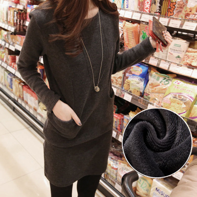 Mission to promote new discount long-sleeved dress Korean Slim plus thick velvet skirt bottoming bottoming shirt was thin big yards female