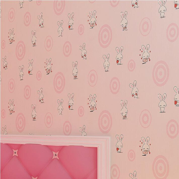 华夏地中海无纺布兔子壁纸男卡通儿童粉色房女孩老虎小少年婚房墙纸派的奇幻相处卧室漂流图片