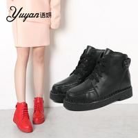 语妍春秋新款短靴时尚内增高马丁靴欧美潮中跟短筒真皮女靴子