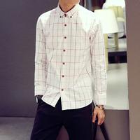 2015秋季新款时尚潮流韩版修身小清新英伦风棉质男士长袖格子衬衫