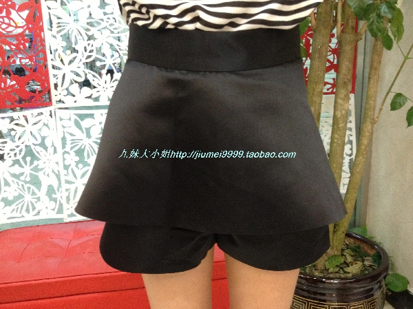 Женские брюки В Европе новый высокого waisted шорты двойной плащ дизайн хакама брюки напоминают сплошной цвет юбки прямые джинсы женские