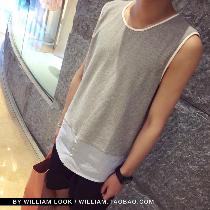 威廉的华丽2015 夏季新款 韩版男士设计感拼接衬衫下摆打底背心潮