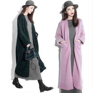 秋冬新款超长款毛衣加厚羊绒开衫过膝宽松针织衫女中长款大衣外套