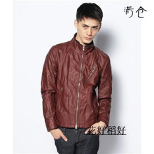 Autumn/winter day 14 single RAGEBLUE cultivate one's morality collar rib so washed ruffle pu leather jacket male